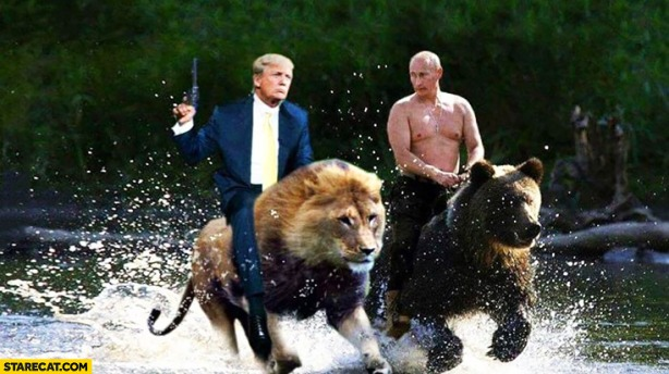 trump-riding-on-a-lion-with-putin-riding-on-a-bear